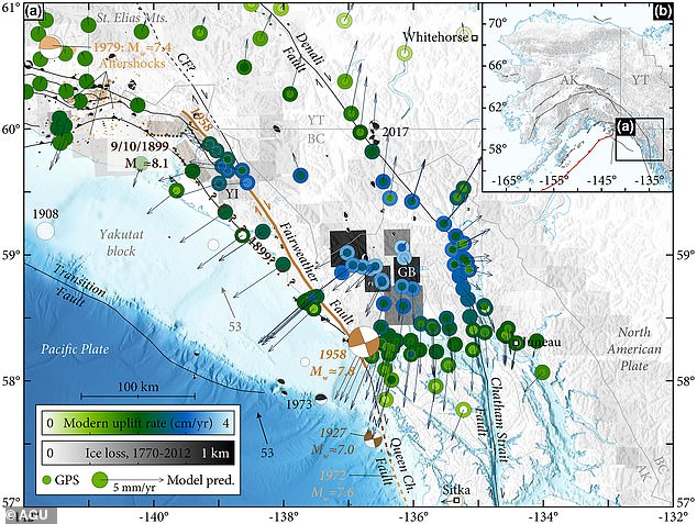 The team determined there is a link between the expanding movements of the mantle with massive earthquakes across Southeast Alaska, where glaciers have been melting for more than 200 years