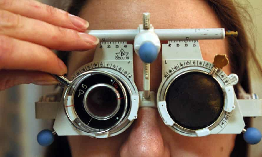 A person having an eye test