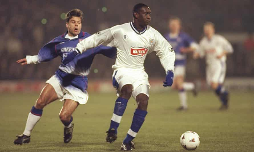 Emile Heskey shields the ball during Leicester's Coca-Cola Cup quarter-final win over Ipswich in 1997