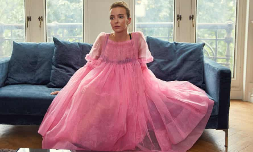 Jodie Comer in Killing Eve in a big pink dress by Molly Goddard