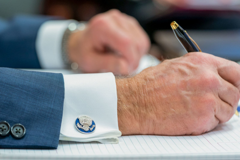 President Joe Biden's cufflinks are seen during his participation in the G7 Leaders' Virtual Meeting Friday, Feb. 19, 2021, in the White House Situation Room. (Official White House Photo by Adam Schultz)
