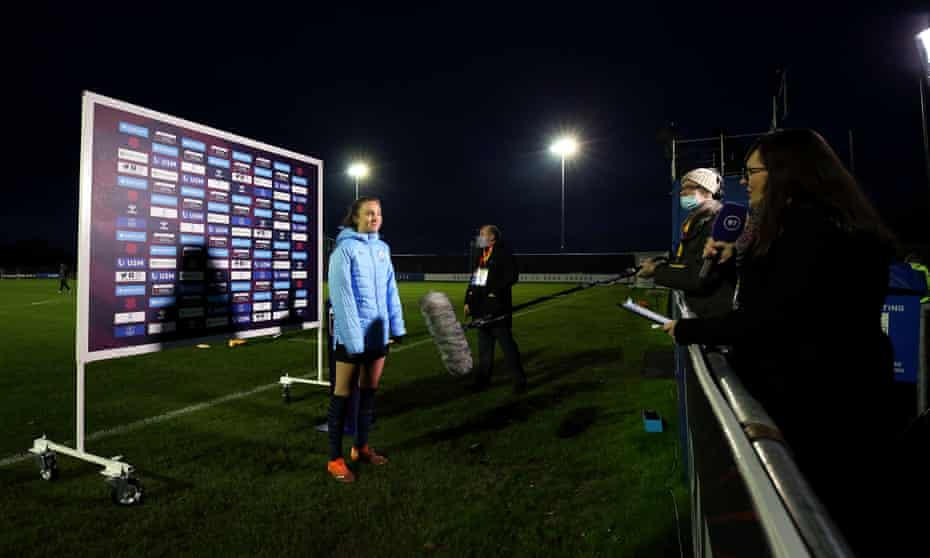 Caroline Weir of Manchester City is interviewed by BT Sport.
