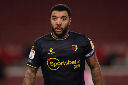 Troy Deeney looks on during Watford's clash with Stoke City