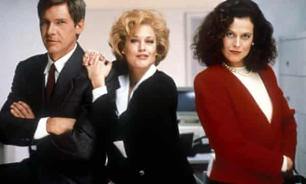 Harrison Ford, Melanie Griffith and Sigourney Weaver in the 1988 film Working Girl