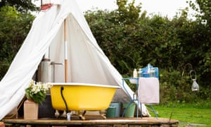 Soak up the great outdoors from the bath at Little Links at Devon Yurt, available through Canopy and Stars.
