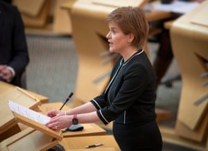 Nicola Sturgeon in the Scottish parliament yesterday.