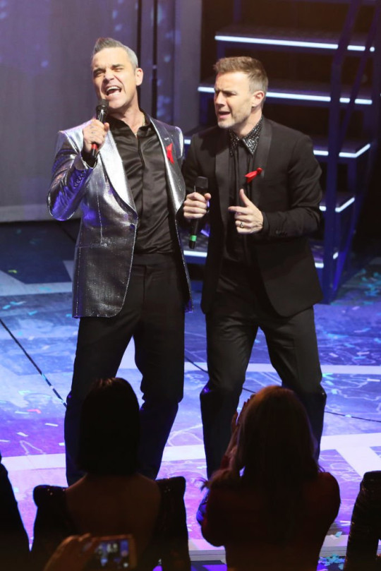 Robbie Williams and Gary Barlow of Take That