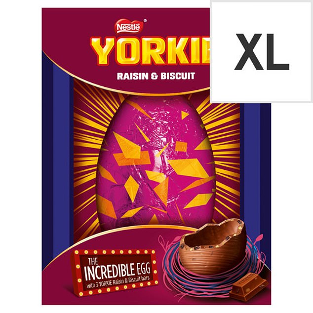 The least eco-friendly eggs were Smarties Milk Chocolate Incredible Easter egg, Kit Kat Chunky Cookie Dough Easter egg, and Nestle's York Raisin and Biscuit Chocolate Egg (pictured)