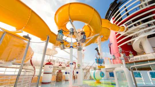 a waterslide on a Disney cruise