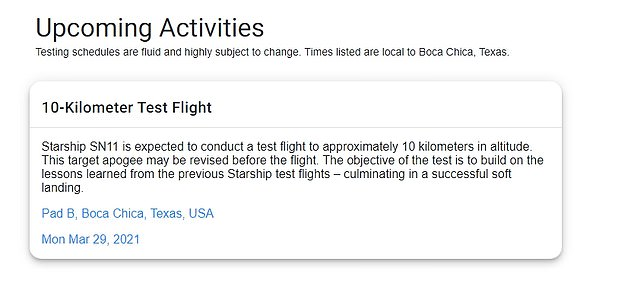 Other announcements surfaced showing that the flight test is now planned for Monday