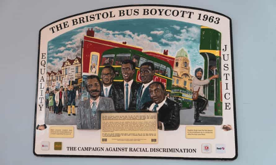 A plaque commemorating the Bristol bus boycott of 1963 in Bristol bus station.