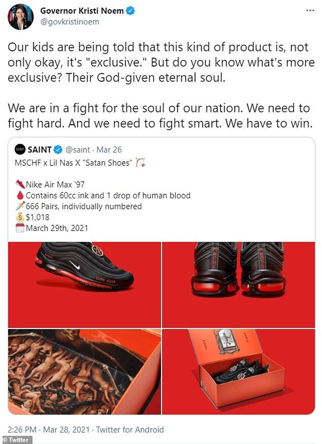Not impressed:Kristi Noem slammed Lil Nas X for promoting his 'Satan Shoes' sneakers during Holy Week