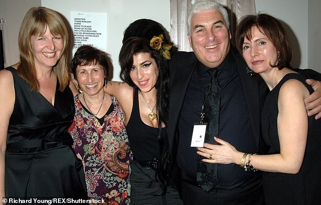 Family: Janis and Mitch set up the Amy Winehouse Foundation following her death. Amy pictured with Jane Winehouse (stepmother), Janis (mother), Mitch (father) and Melody (aunt) in 2008 (L-R)