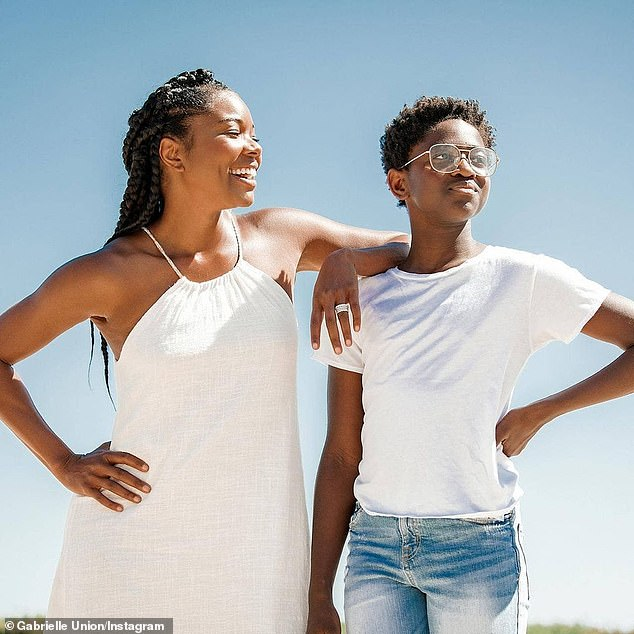 Proud:Along with parenting a now two-year-old daughter, Union has been happily step-parenting Dwyane's sons Zaire, 19, and Xavier, seven, as well daughter Zaya, 13; Gabrielle and Zaya pictured