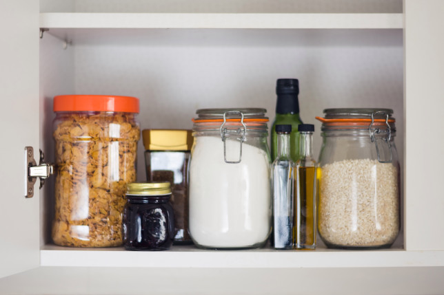 kitchen cupboard filled with food