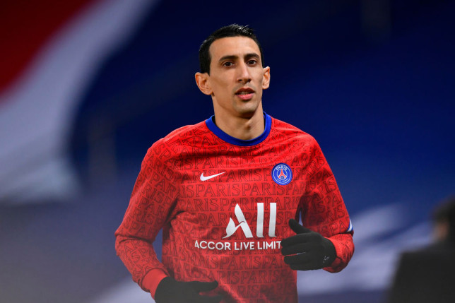 Angel Di Maria of Paris Saint-Germain looks on during warmup before the Ligue 1 soccer match between Paris Saint-Germain and Nimes Olympique at Parc des Princes stadium on February 03, 2021 in Paris, France.