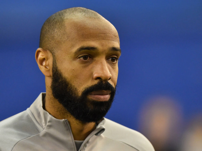 Arsenal legend Thierry Henry looks on during Montreal Impact's clash with CD Olimpia