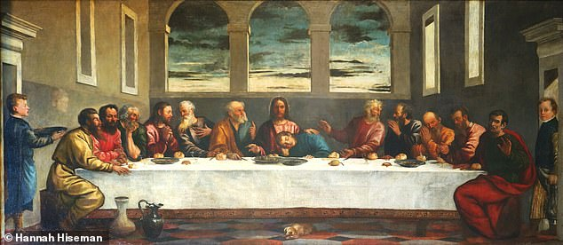 A discoloured painting of the biblical Last Supper that has hung in a parish church in Herefordshire for 110 years (pictured) may be a lost work by the Venetian master Titian