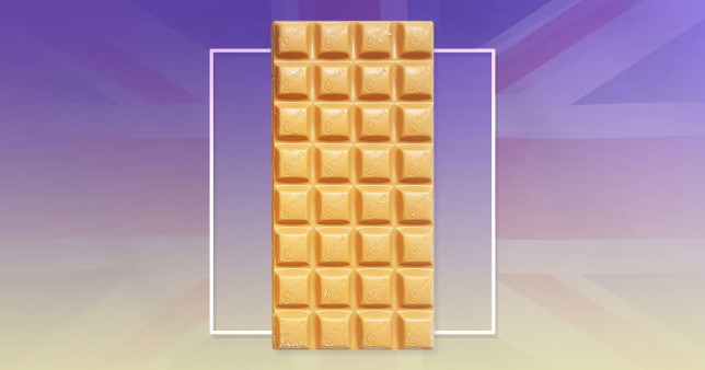 Caramilk bar on a purple background with the UK flag