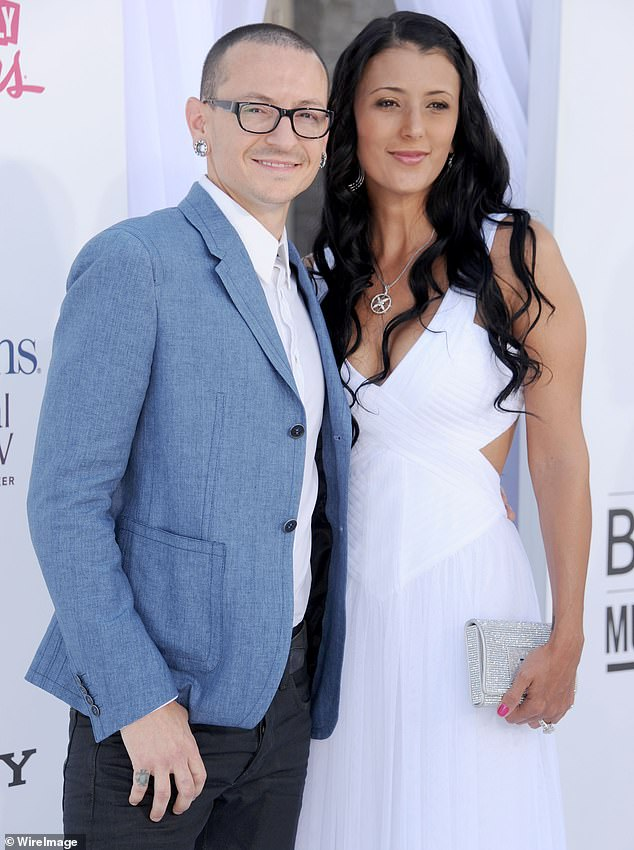 Looking back: Chester Bennington's widow Talinda posted a throwback video to her Instagram account to commemorate what would have been the Linkin Park frontman's 45th birthday; the two are pictured at theu00A02012 Billboard Music Awards