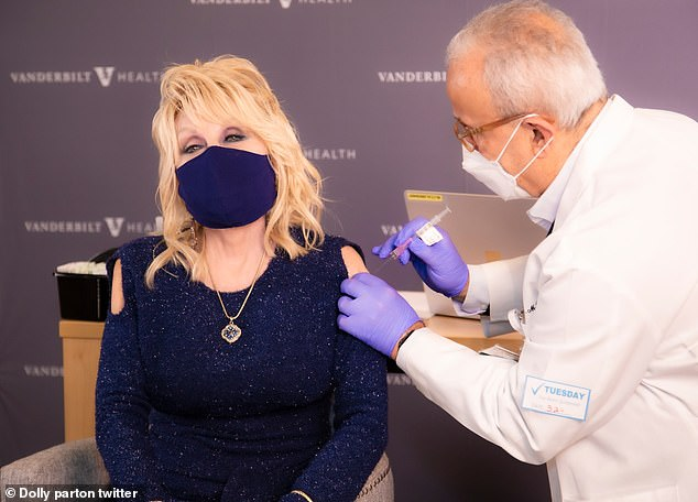 Dolly Parton, 75, announced on Tuesday that she has received her first dose of the Moderna COVID-19 vaccine, which was developed with help from her $1million donation early last year