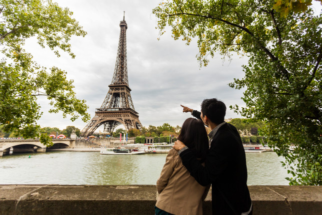 sightseeing couple look at the Eiffel tower