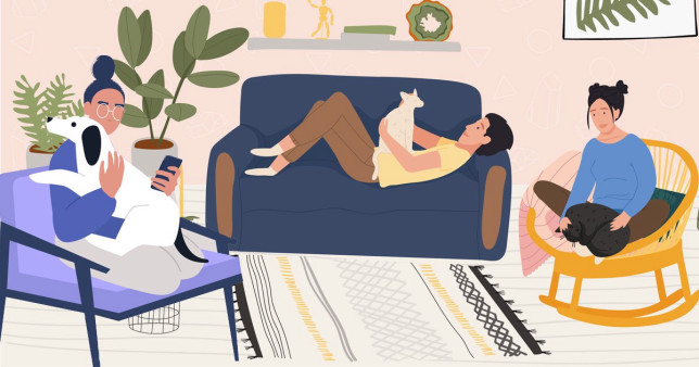illustration of people at home with pets