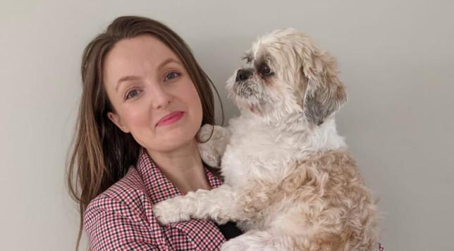 Kate Leaver holding her shih tzu dog, Bert