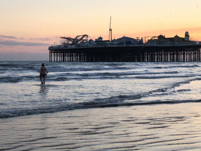 Tracey swimming off Brighton Beach
