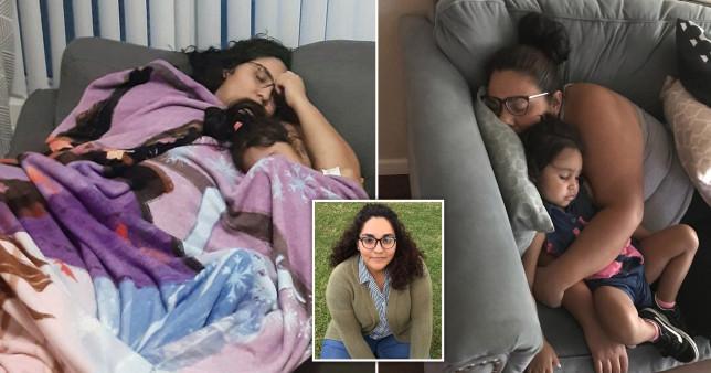 Woman sleeping next to child