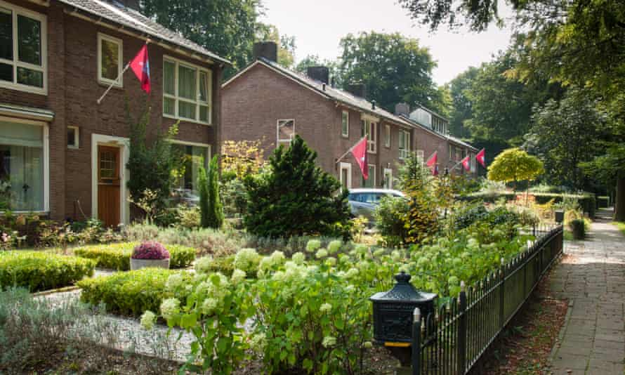 Airborne Regiment flags hanging on houses in Oosterbeek for the 70th anniversary of the Battle of Arnhem in 2014.