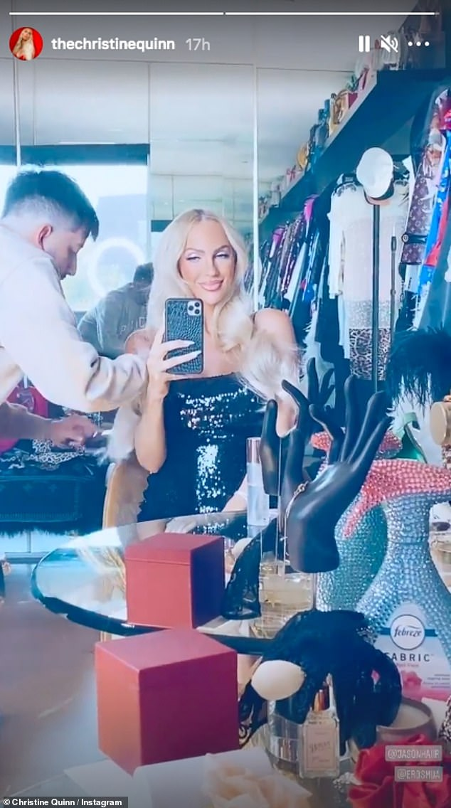 Glowing:Christine Quinn proved she's still the most glamorous person in the room as she shared a sultry getting-ready clip to her Instagram on Wednesday