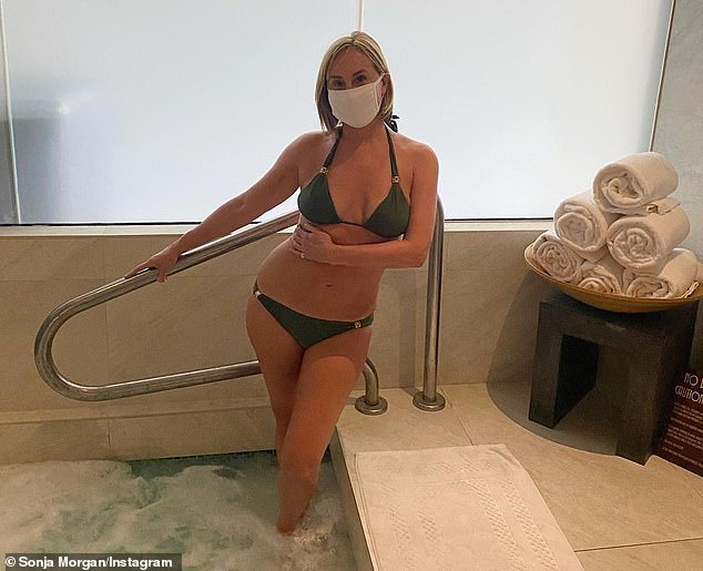 Trying something new: Sonja Morgan was seen wearing a white facial covering while stepping into a spa during her getaway to Arizona on Thursday