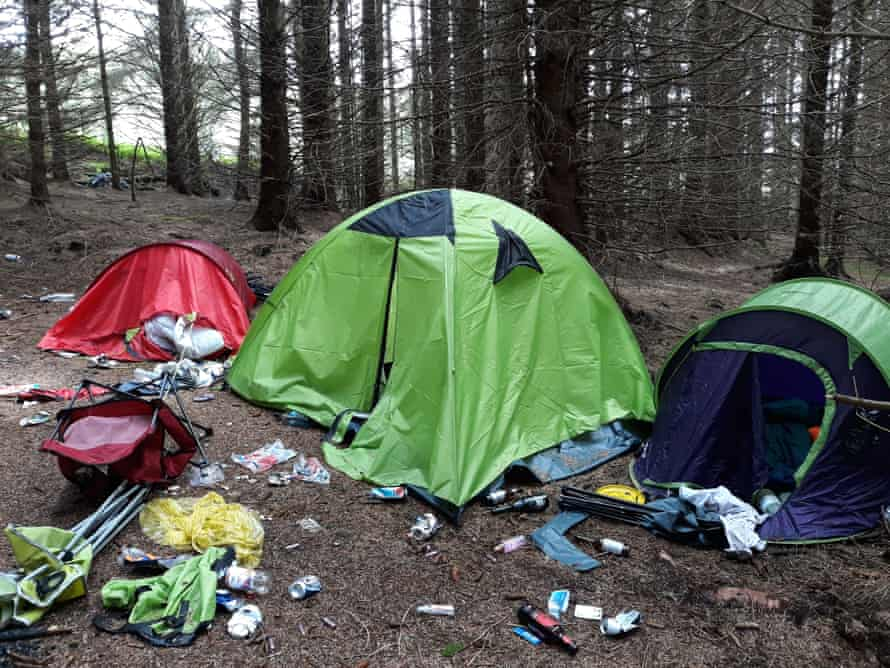 Rubbish left by campers in Kielder, Northumberland, in July 2020.