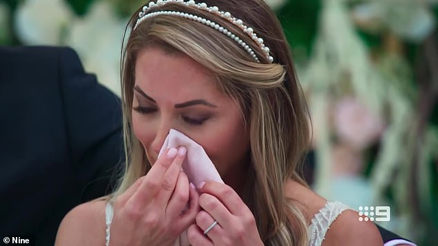 Emotional: Married At First Sight's 'Princess' bride Jaimie Gardner, 32, (pictured)u00A0 was brought to tears following her dyslexic husband Chris Jensen's speech this week - or so it seemed