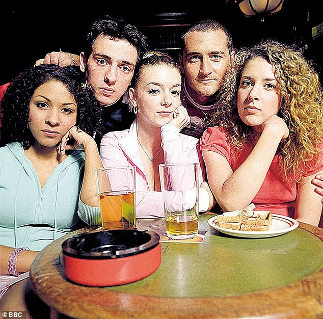 Sad times: Will Mellor (second right) has said a revival of iconic sitcom Two Pints of Lager and A Packet of Crisps is unlikely as he 'hasn't spoken to Sheridan Smith' (centre) in nearly five years