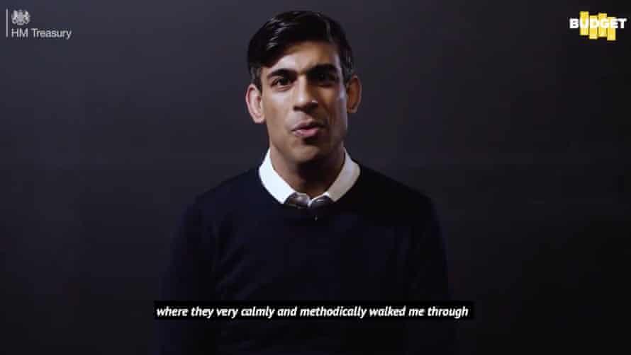 Rishi Sunak wearing a crew-neck jumper in his budget video