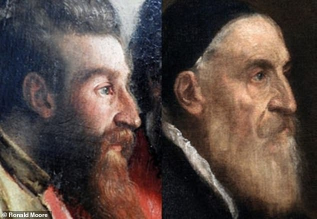 Titian's portrait appears as the face of the left-most apostle, dressed in gold — albeit one depicting the painter as a young man. Pictured: the apostle bearing Titian's image, left, as compared to that from his own self-portrait, right