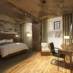 Computer-generated image of how one of the bedrooms at Bodmin Jail Hotel will look, UK.