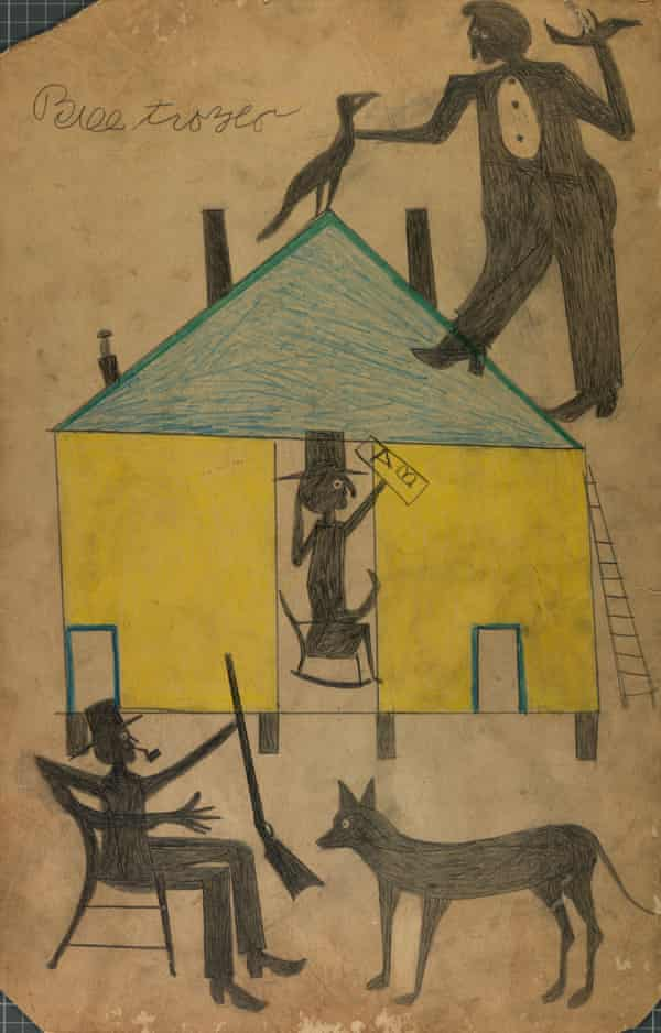 Bill Traylor - Untitled (Yellow and Blue House with Figures and Dog) from the collection of the Smithsonian American Art Museum.