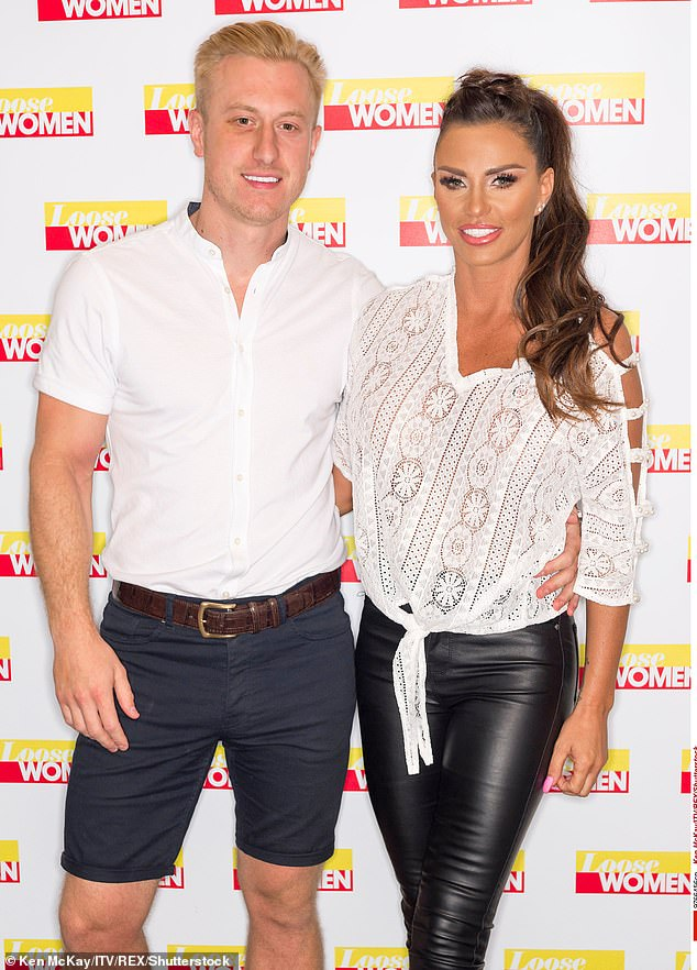 Old times:Kris was previously engaged to mother-of-five Katie Price, with the pair getting engaged in July 2019, before separating four months later (pictured in 2018)