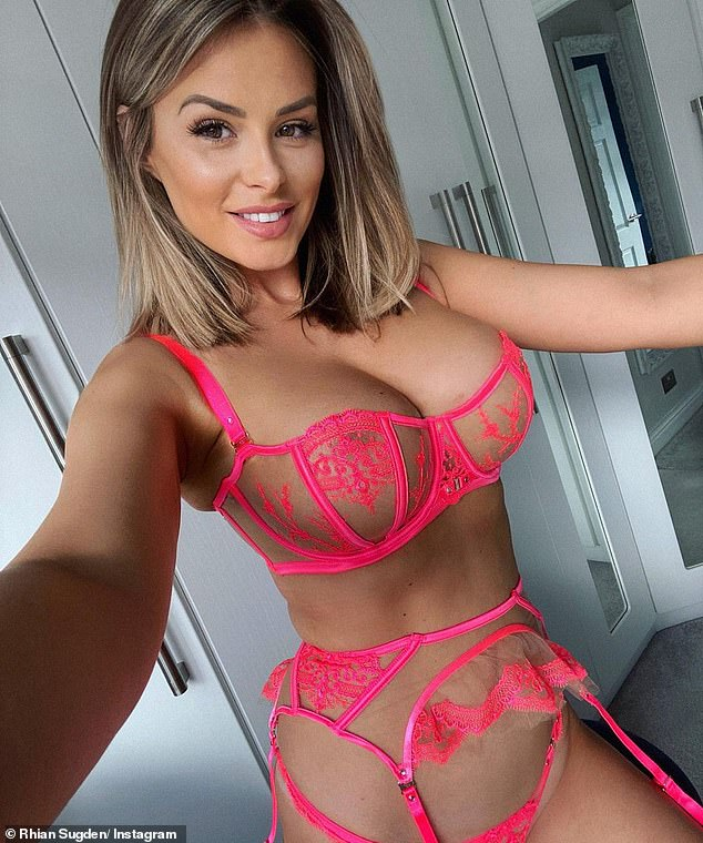 Unreal:Earlier in March, Rhian ditched the muted tones, instead opting for a neon pink lingerie set with a matching pink garter belt