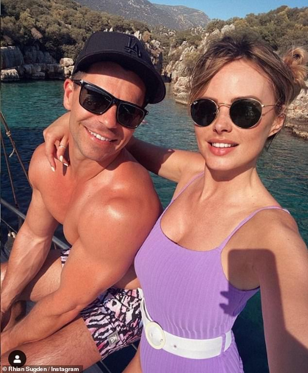 Loved-up:The model spent lockdown with her husband Oliver Mellor and their gorgeous pet dog