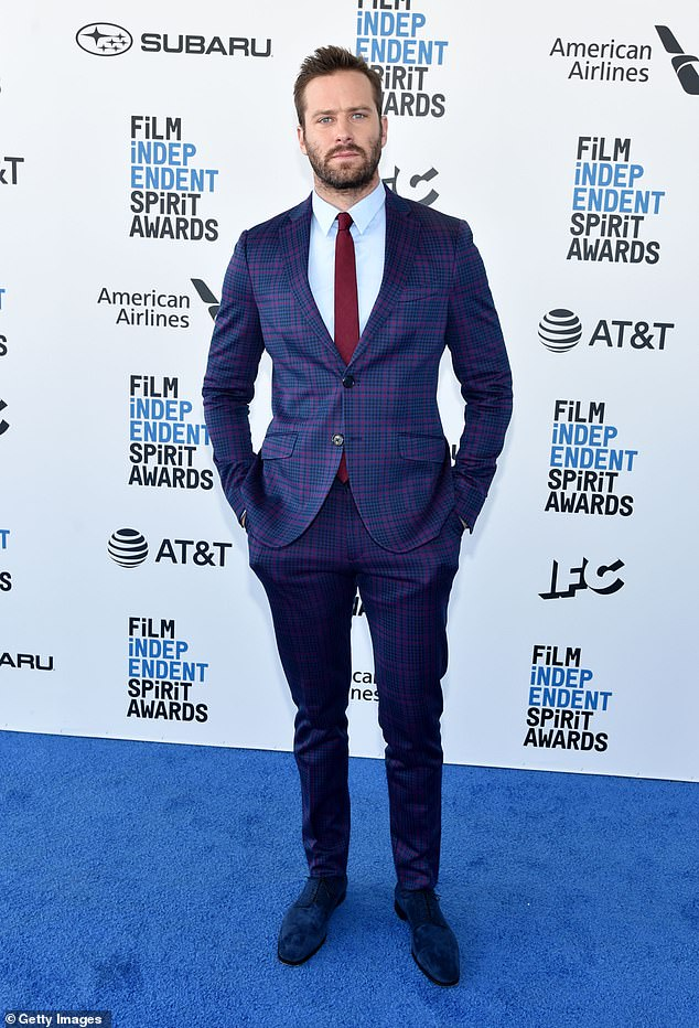Yikes: Leaked texts and graphic descriptions about BDSM, cannibalism and excessive drug use gave way to Armie being dropped from the Jennifer Lopez film Shotgun Wedding earlier this year; seen in 2019