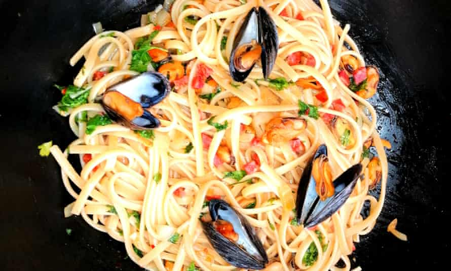 Mussel and chorizo pasta