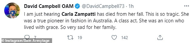 Speaking out: Today extra host David Campbell also shared a tribute to Carla, calling her an 'icon'