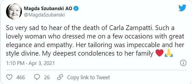 Upset: Actress Magda Szubanski also shared a tribute and tweeted: So very sad to hear of the death of Carla Zampatti'