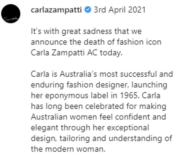 Statement: Carla's death was confirmed via a statement on her official Instagram account on Saturday