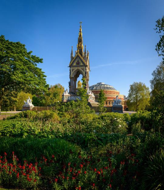 Mandatory Credit: Photo by Nick Harvey/REX (10621727c) The Albert Memorial and Albert Hall from Kensington Gardens during the Coronavirus outbreak. Coronavirus outbreak, London, UK - 22 Apr 2020