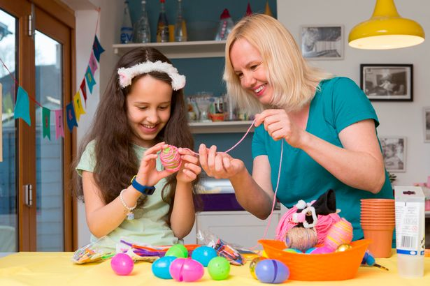 Hannah Verdier and her daughter Evie Paterson trying out some of the crafts projects